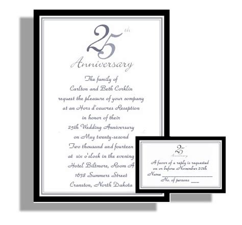 25th wedding anniversary invitations templates best photos of 25th church anniversary invitation sles