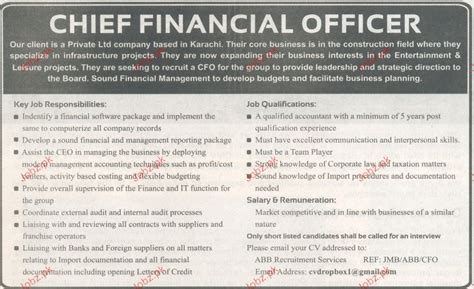 Chief Financial Officer by Chief Financial Officer Opportunity 2017 2018
