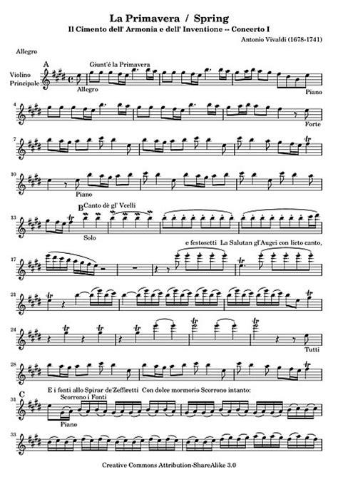 verano 2 testo der fr 252 hling concerto no 1 quot la primavera quot violin