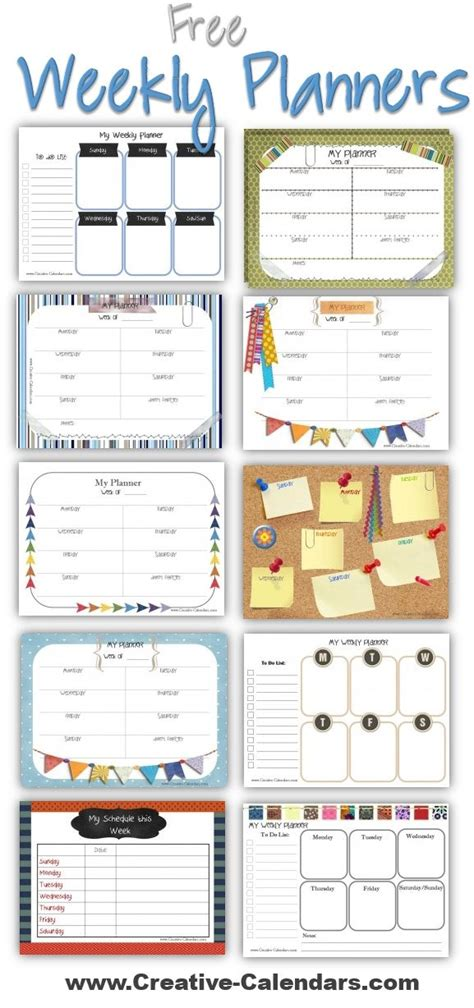 printable planner pages pinterest free printable weekly planners to plan your weekly