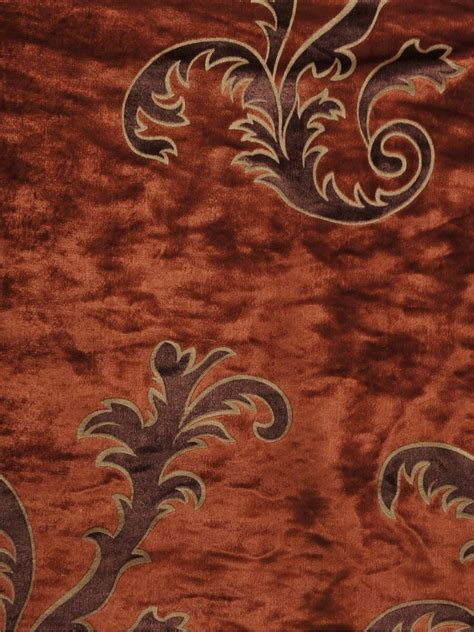 rust colored l shades hebe mid scale scrolls single pinch pleat velvet curtains