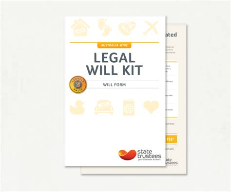 Free Will Kit Template buy an australian will kit state trustees vic