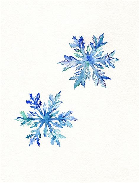 printable blue snowflakes snowflakes watercolor print teal by kellybermudez 19