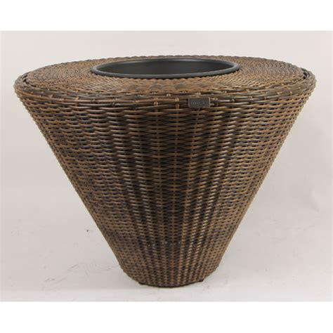 Large Resin Planters Outdoor by Large Circular Resin Wicker Planter With Plastic Inlays