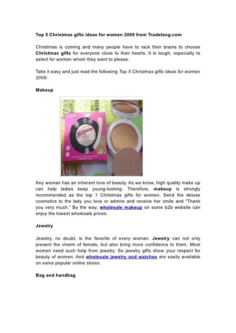 top 5 christmas gifts ideas for women 2009 from tradetang com