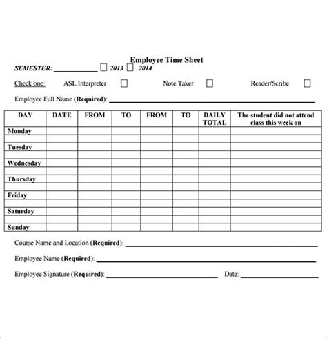 employee timesheet template free employee timesheet template 8 free for pdf