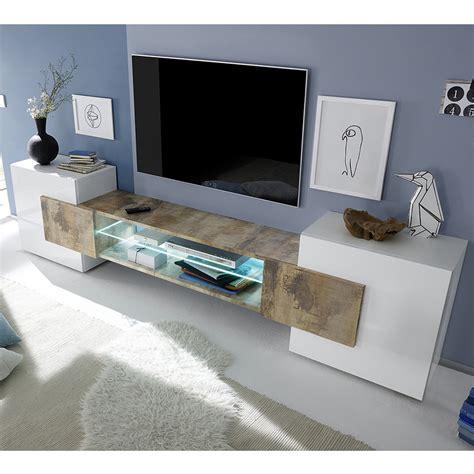 Meuble Tv Laque Blanc Brillant by Meuble T 233 L 233 Blanc Laqu 233 Brillant Et Couleur Bois Sofamobili