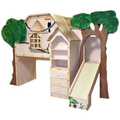 baumhausbett mit rutsche tiki treehouse bed with desk slide