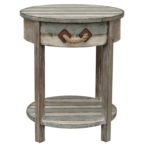 rustic wood accent table nantucket round weathered wood accent side end table
