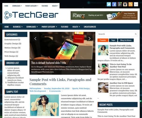 techgear blogger template blogger templates 2018