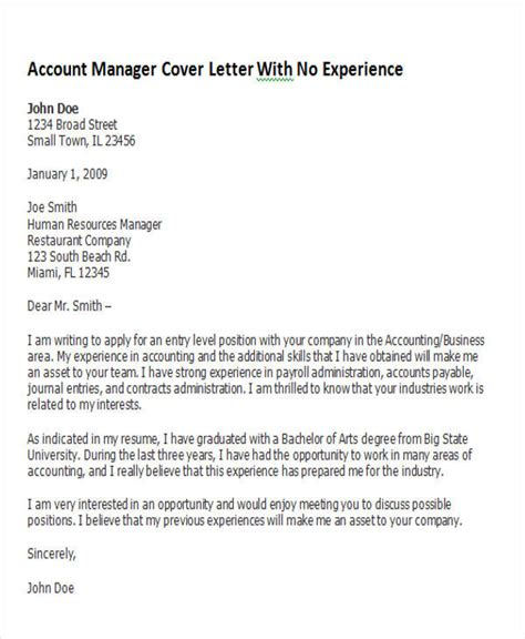 supervisor cover letter with no experience account manager cover letter 8 exles in word pdf