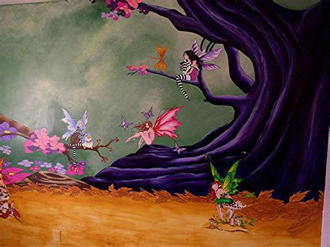 Room Game - fairies in the woods mural