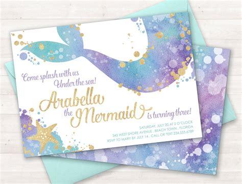Mermaid Invitation Mermaid Party Invite Under The Sea Party Free Mermaid Invitation Templates