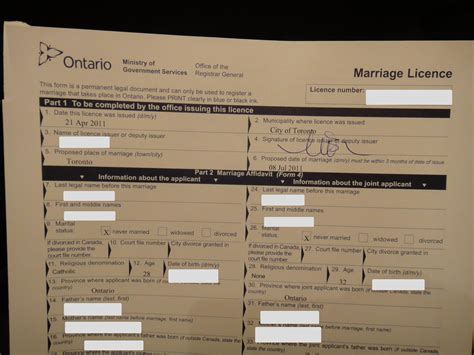Marriage license in toronto