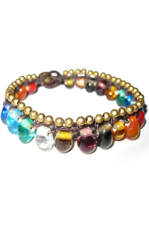 a boho multi colored glass beaded bracelet