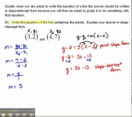 write an equation of a line in slope intercept form 1 6