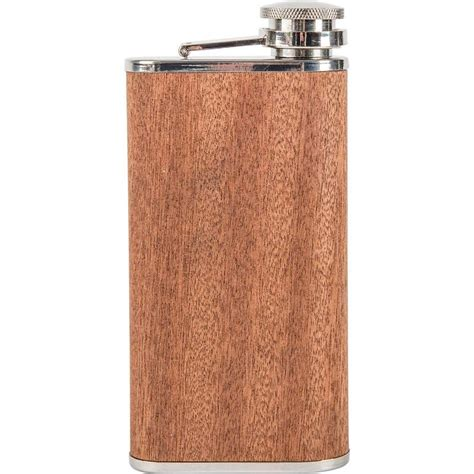 stainless steel 9 oz flask 9 oz wide stainless steel flask with sapele wood