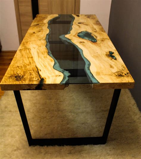 sold live edge river table with with blue sold