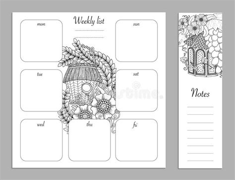 layout for journal intime weekly list design for notepad sketchbook diary mockup