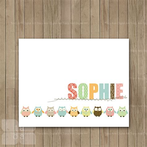 Printable Owl Pictures For Nursery | diy nursery art baby girl owl border personalised