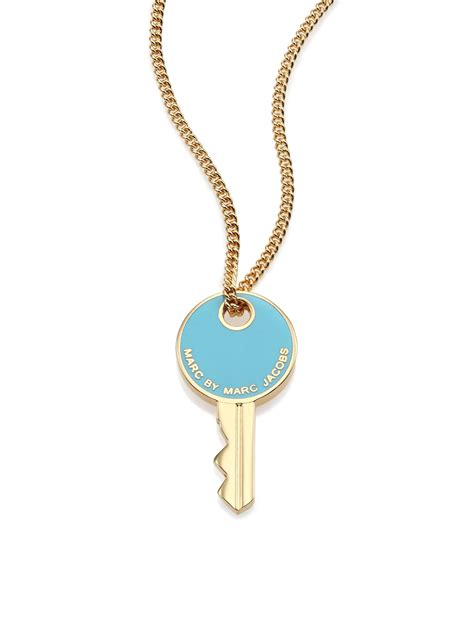 marc by marc golden key pendant necklace in blue lyst