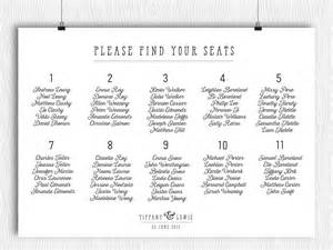 printable seating chart modern minimalist calligraphy plan