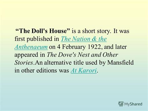 the doll s house short story презентация на тему quot stylistic devices in katherine