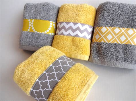 Decorated Tea Towels Yellow And Grey Bath Towels Yellow And Grey Yellow And Gray