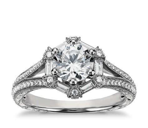 lhuillier hexagon baguette engagement ring
