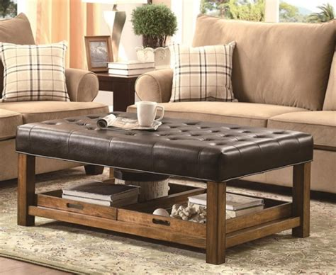Unique And Creative Tufted Leather Ottoman Coffee Table Ottoman For Coffee Table