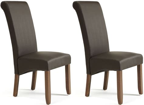 Leather Chair Dining Buy Serene Kingston Brown Faux Leather Dining Chair With Walnut Legs Pair Cfs Uk