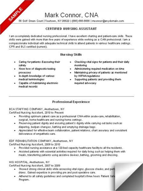 Resume Objective Exles For Nursing Assistant Cna Resume Sle Resume Exles Resume Articles And Sle Resume