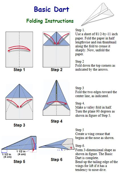 Directions For A Paper Airplane - origami dart paper airplane cool paper