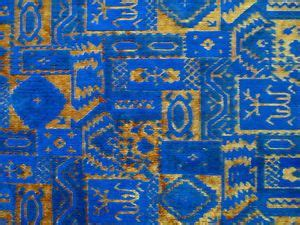 mexican upholstery fabric vintage blue gold mexican design cut velvet upholstery