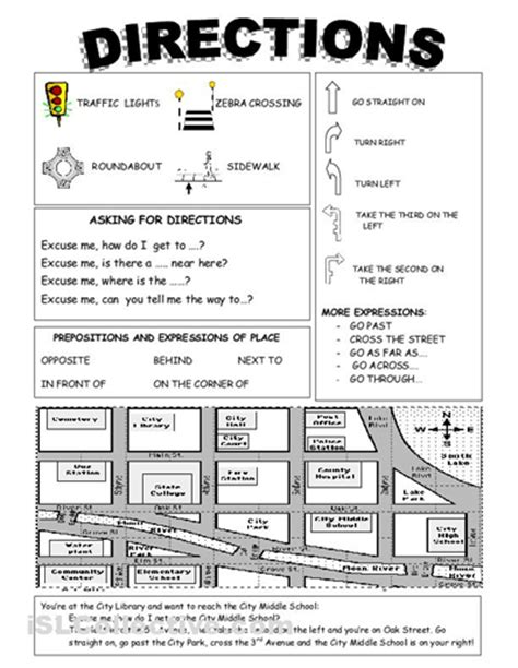 giving directions printable activities english vocabulary asking for directions directions