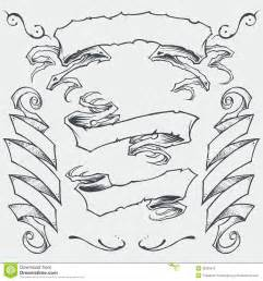 rooster tattoos ribbons set 01 royalty free stock image image 36325676