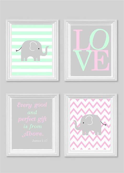 Gray Elephant Nursery Decor Elephant Nursery Baby S Room Decor Pink Gray Mint Bible Verse Every