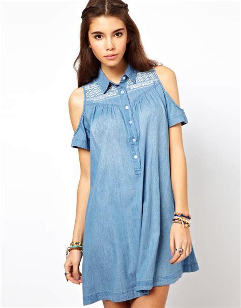 Denim Dress pretties closet asos embroidered denim dress with cold