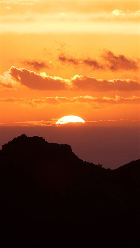 papersco iphone wallpaper nk canary island sunset sky mountain nature
