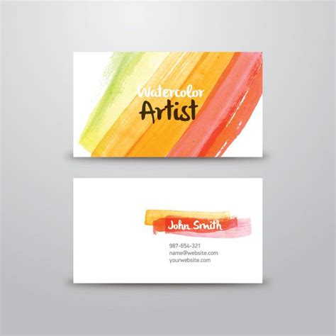 watercolor artist business card vector graphic business