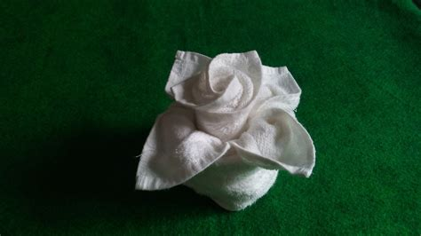 Origami Napkin Flower - flower in vase towel design home decorating