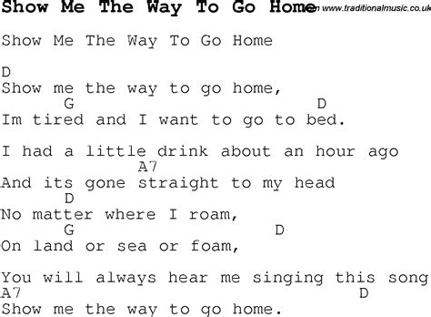 show me the way to go home guitar chords and lyrics to