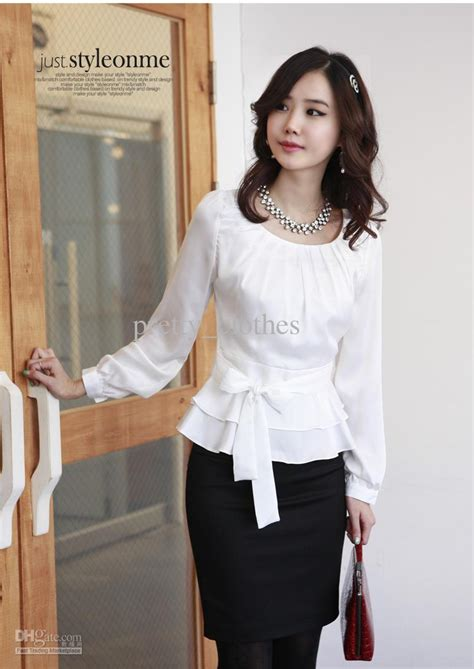 Blouse Semi Peplum Merk Executive Ruffle Preloved 2017 formal shirts white shirts with stylish jabot and zipper on the side shirt