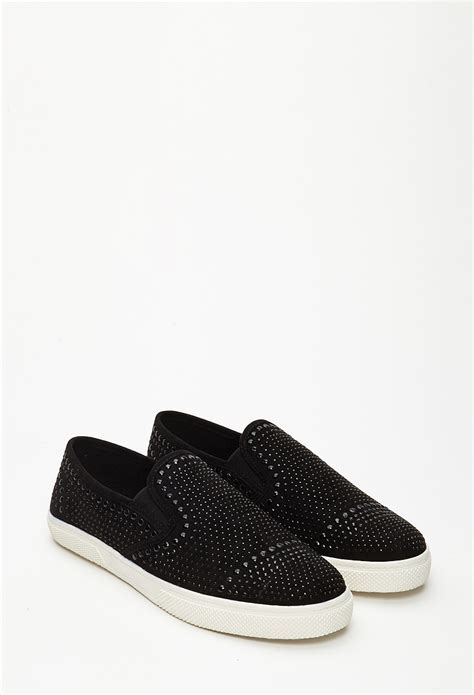 Faux Suede Slip On In Black 1 forever 21 studded faux suede slip ons you ve been added to the waitlist in black lyst