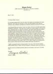 letter of recommendation from special education