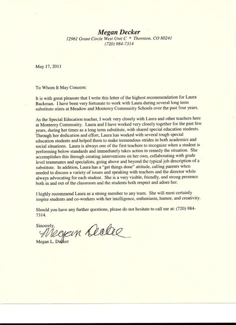 Recommendation Letter For Education Letter Of Recommendation From Special Education From Megan De