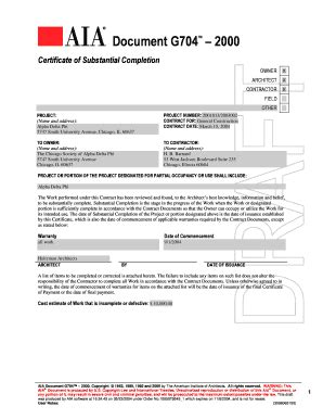 certificate of substantial completion template aia g704 certificate of substantial completion