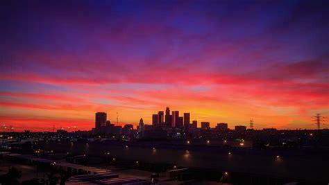 los angeles skyline sunset stock footage video shutterstock