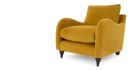 Plush Armchair Sofia Armchair Plush Turmeric Velvet Made