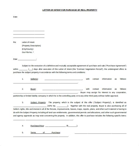 real estate letter of intent template 19 letter of intent template free sle exle